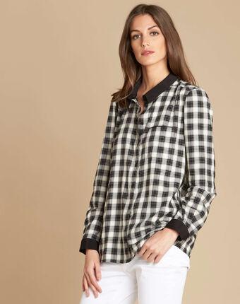 Chemise à carreaux dominique noir/blanc.