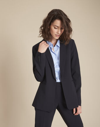 Stella navy blue jacket with cowl microfibre neckline navy.