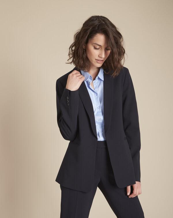 Stella navy blue jacket with cowl microfibre neckline (1) - 1-2-3