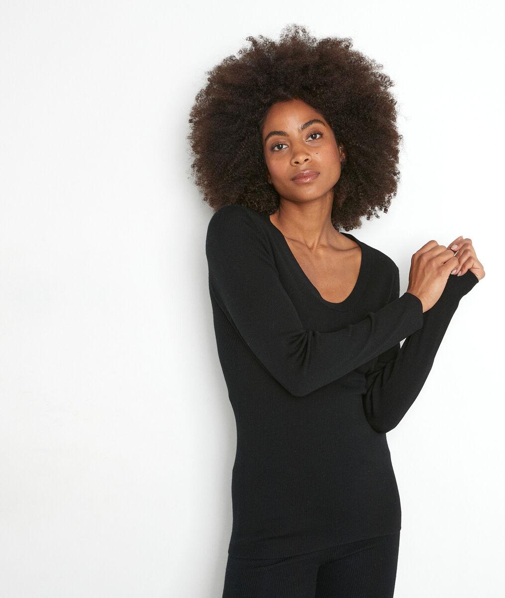 Tee-shirt manches longues noir en laine recyclée Tayron PhotoZ | 1-2-3