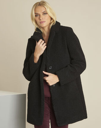Elvire black coat with boiled wool look black.
