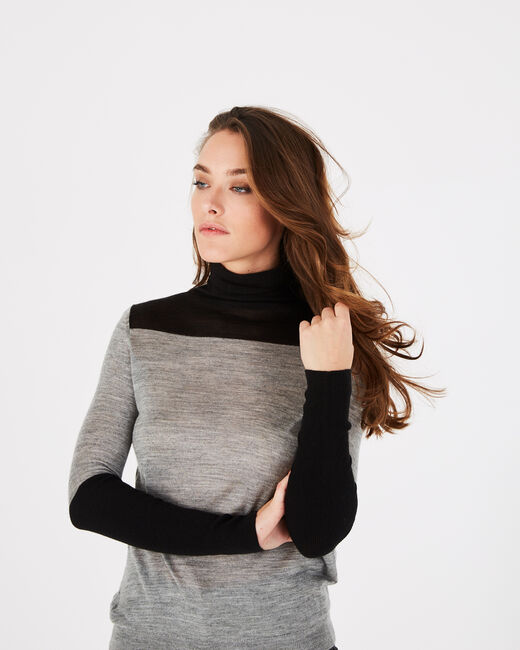 Poire striped grey sweater with polo-neck (2) - 1-2-3