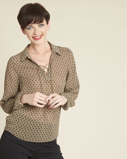 Caroline khaki polka dot blouse with laced neckline (2) - 1-2-3