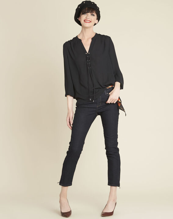 Cheryl black blouse with laced neckline (3) - 1-2-3
