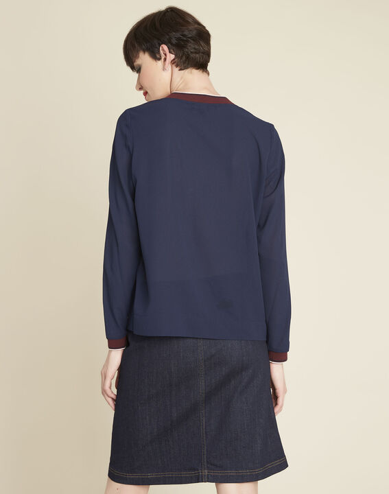 Carmen navy blue blouse with contrasting neckline (4) - 1-2-3