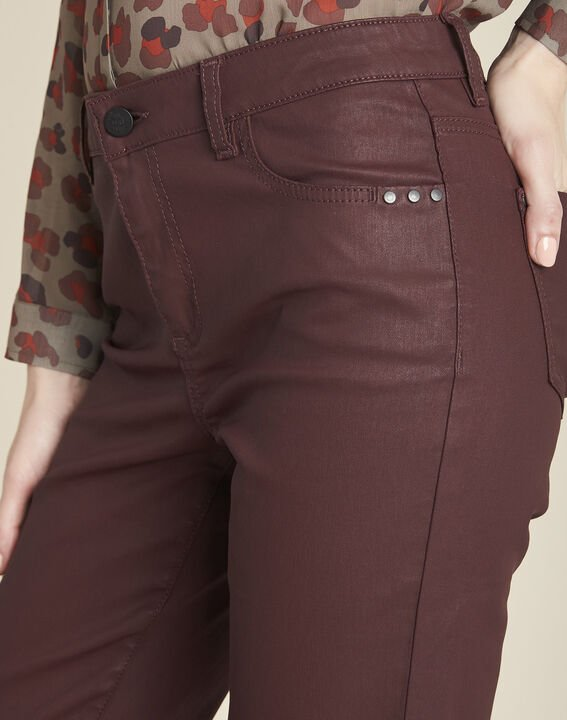 Vendôme 7/8 length burgundy coated jeans (3) - 1-2-3