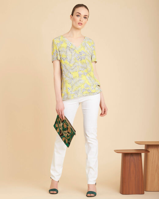 Givre yellow printed T-shirt with tie (2) - 1-2-3