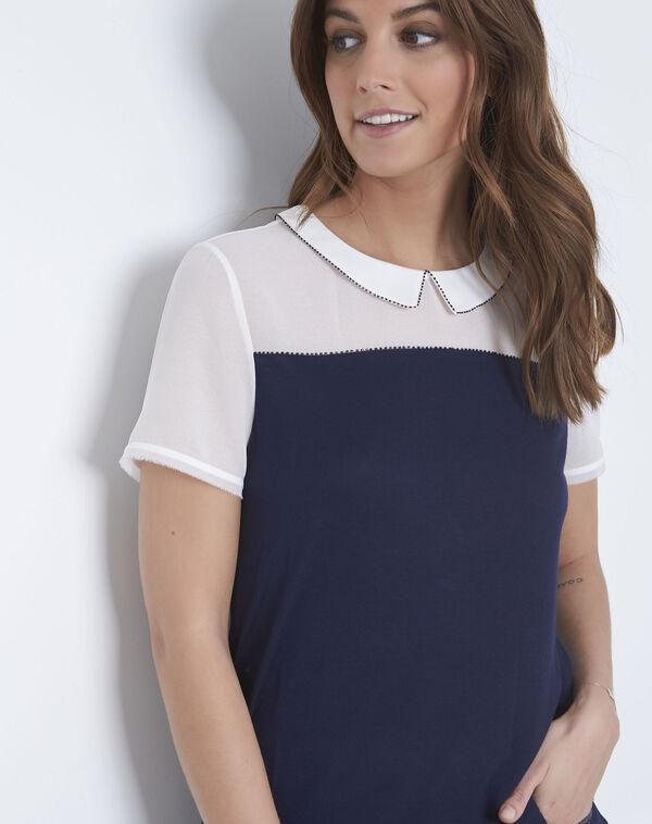 Tee-shirt marine col fantaisie Paris (2) - Maison 123 ... f83579dcd63