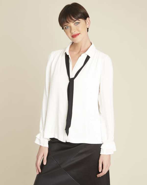 Calia ecru blouse with tie (1) - 1-2-3