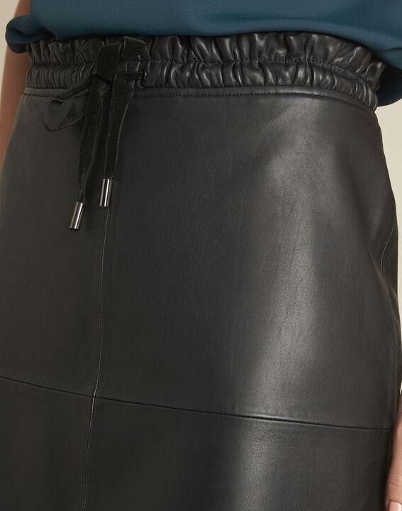 Jupe noire en cuir lisse Atila (3) - Maison 123