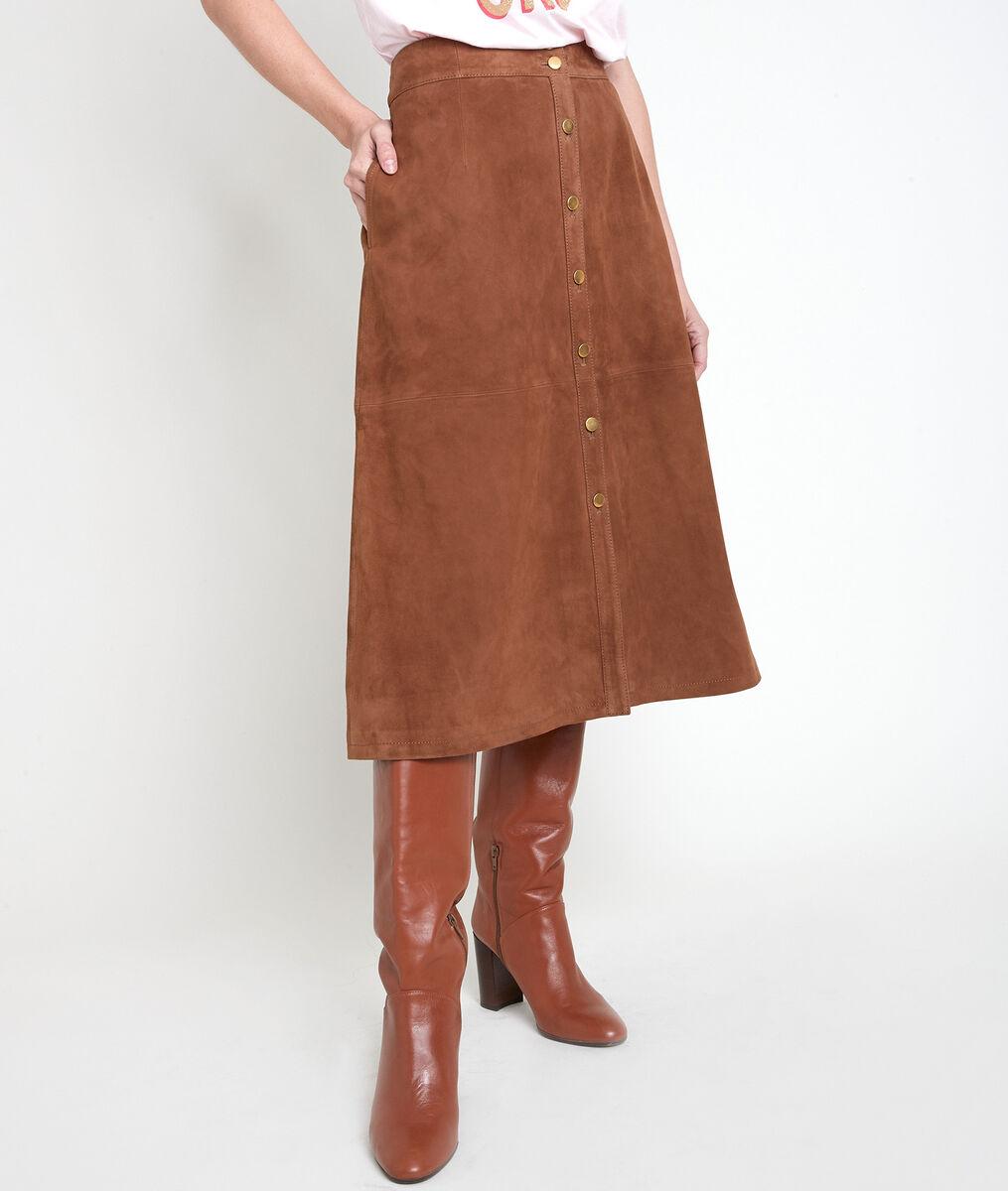 Jupe en cuir velours camel Ely PhotoZ   1-2-3