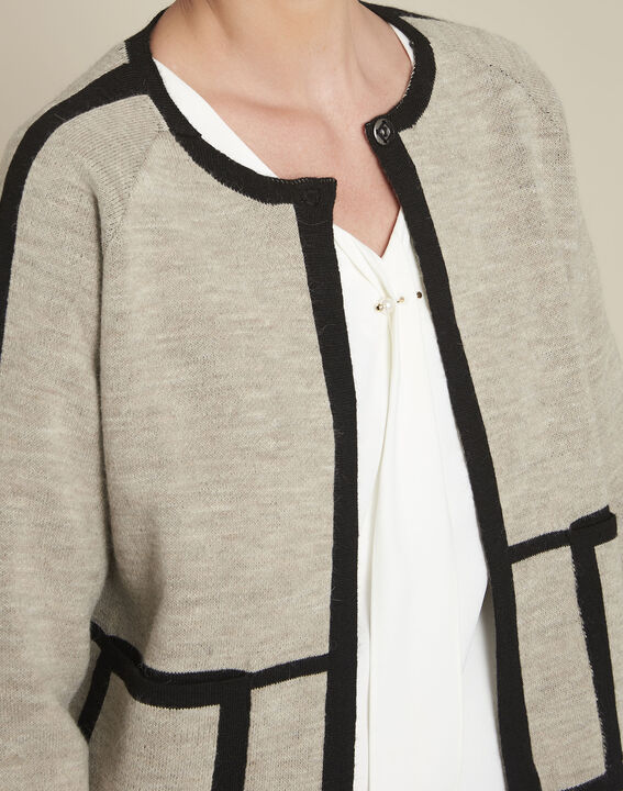 Mastic taupe cardigan with contrasting bias (3) - 1-2-3