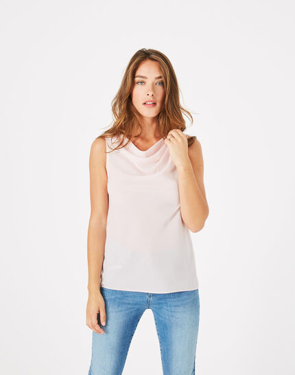 Daisy pale pink top with cowl neckline (3) - 1-2-3