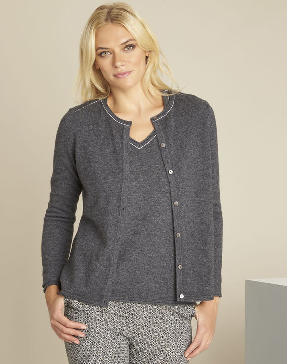 Ballerine grey wool cashmere fine knit cardigan PhotoZ | 1-2-3