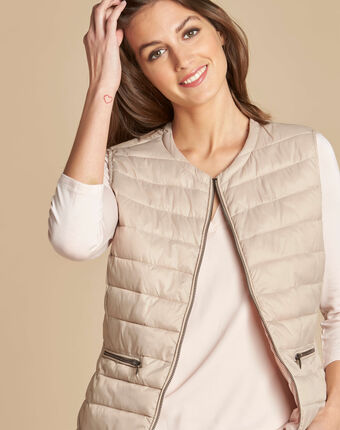 Yvana fine beige sleeveless padded coat beige.