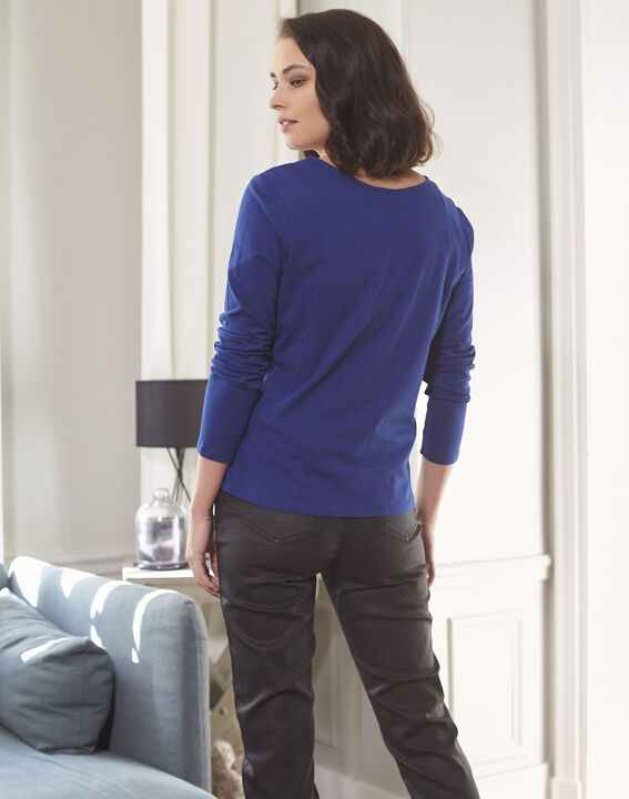 Guipure sapphite blue T-shirt with decorated neckline (4) - Maison 123