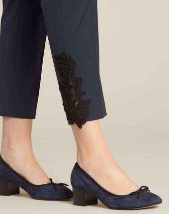 Valero tailored trousers in navy with crease and lace detailing navy.