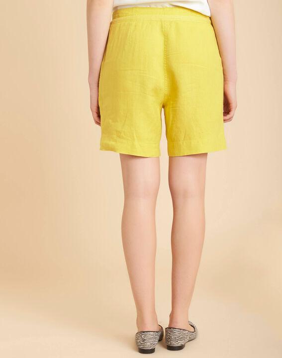 Citron yellow linen shorts (4) - 1-2-3