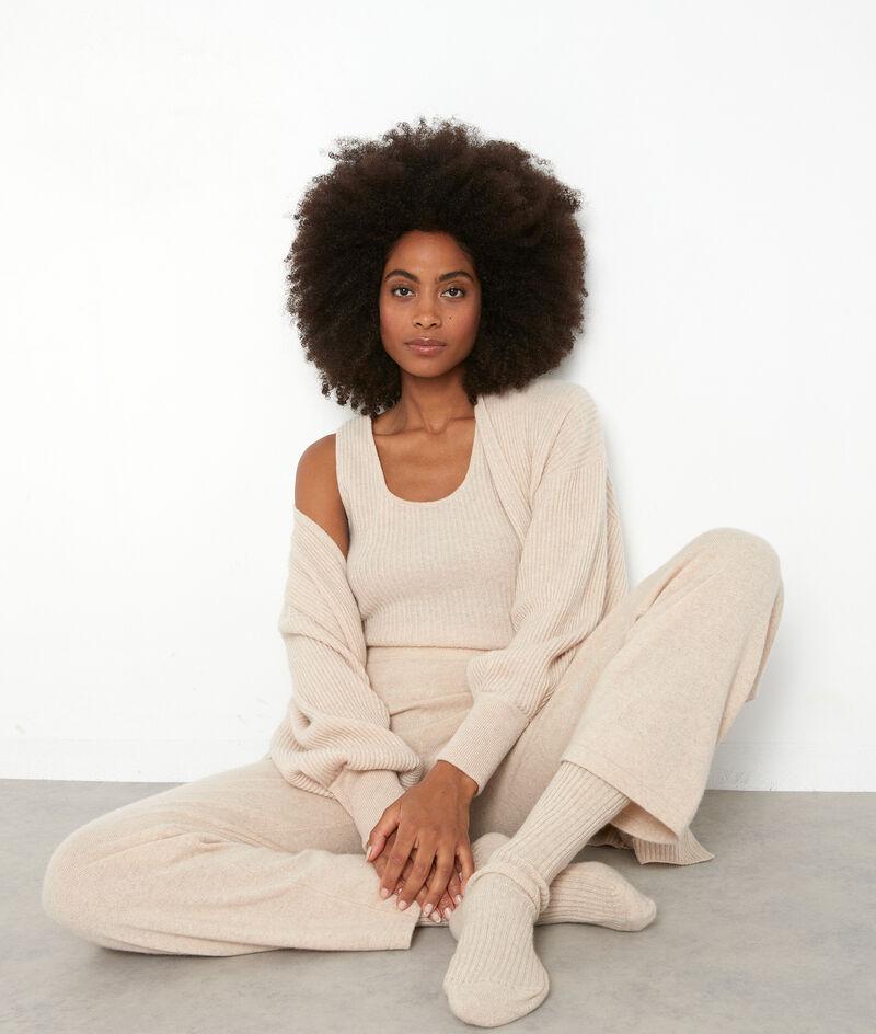 Pantalon large en cachemire recyclé beige Tanis PhotoZ | 1-2-3