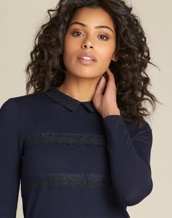 Ebeatrice long-sleeved embroidered blue t-shirt with shirt collar navy.