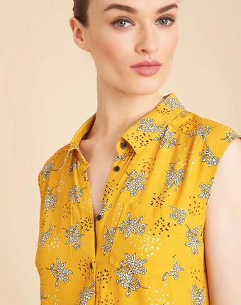 Chemisier jaune sans manches à motifs armony soleil.
