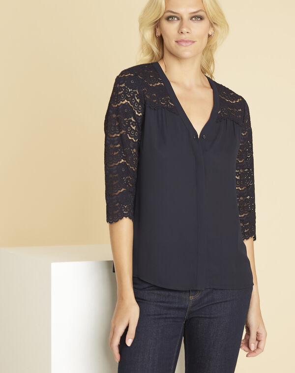 Colette navy blue blouse with lace insert (2) - 1-2-3