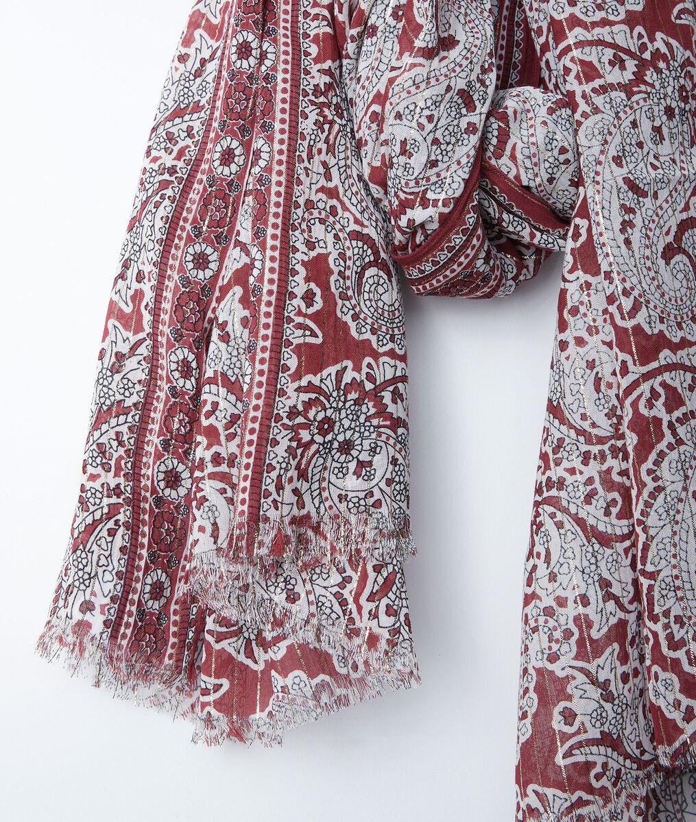 Foulard imprimé cachemire rouge Bianca PhotoZ | 1-2-3
