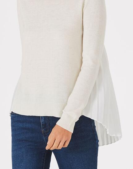 Pull blanc cassé à volants en laine mélangée Pleats (3) - 1-2-3