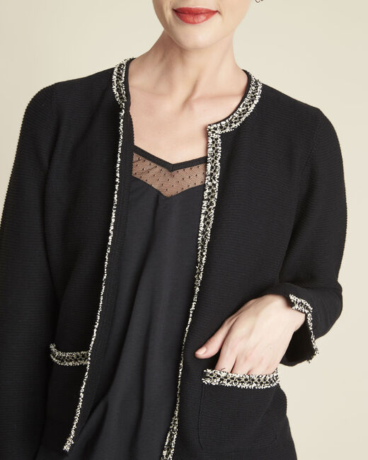 Bonchic black cardigan with decorative detailing (1) - 1-2-3