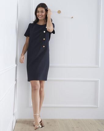 Marineblauwe jurk met grote knopen defi marine.