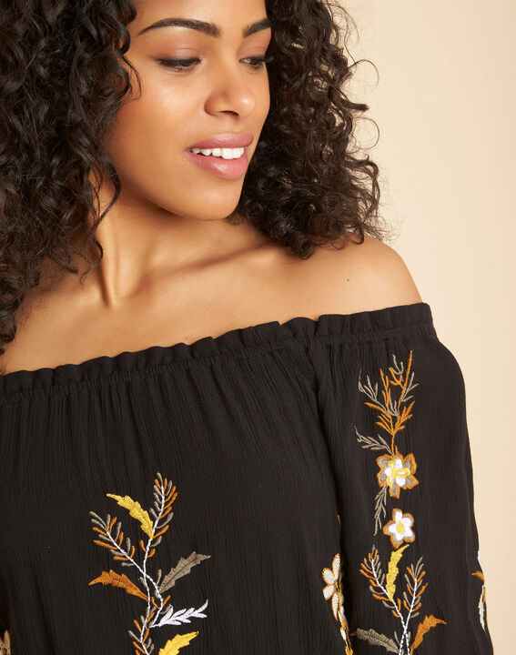 Genevieve black blouse with embroidery PhotoZ | 1-2-3