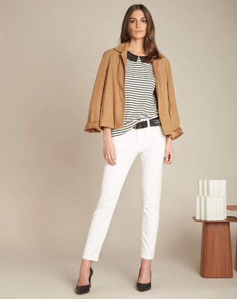 Turenne slim-cut white trousers with golden band ecru.
