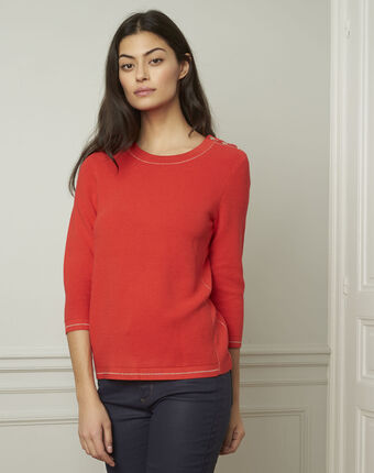 Avocado red pullover with buttons and lurex details geranium.