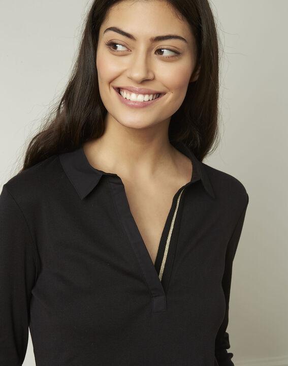 Tee-shirt noir encolure V en lurex Primerose (4) - Maison 123