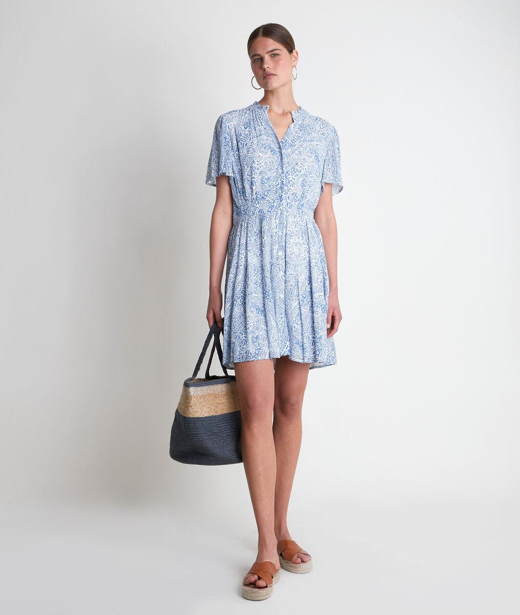 Robe courte imprimée bleu ciel Leonie  PhotoZ | 1-2-3