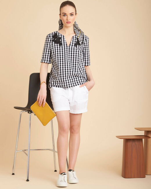 Gwenaelle black check blouse with embroidery (2) - 1-2-3
