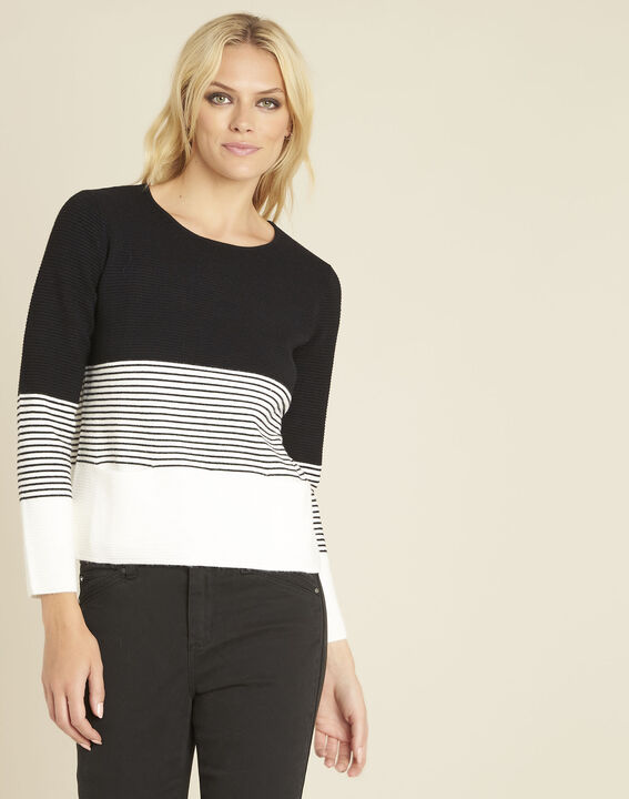 Bico black and white sweater with rounded neckline (1) - Maison 123