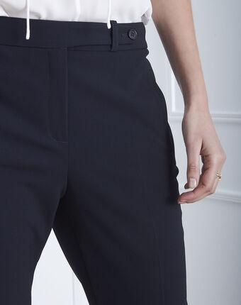 Pantalon marine droit en microfibre à ceinture boutonnée hugo marine.
