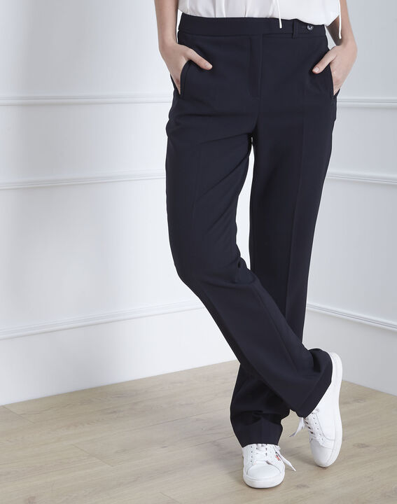 Hugo straight-cut navy microfibre trousers with buttoned belt PhotoZ | 1-2-3