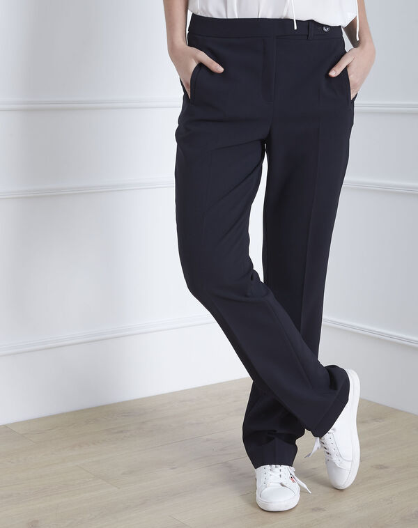 Hugo straight-cut navy microfibre trousers with buttoned belt (1) - 1-2-3