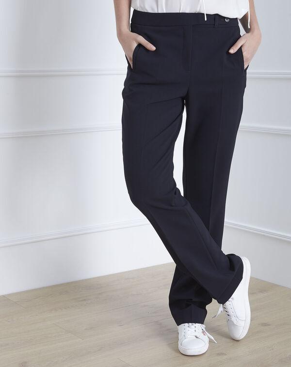 Pantalon marine droit en microfibre à ceinture boutonnée Hugo (1) - 1-2-3