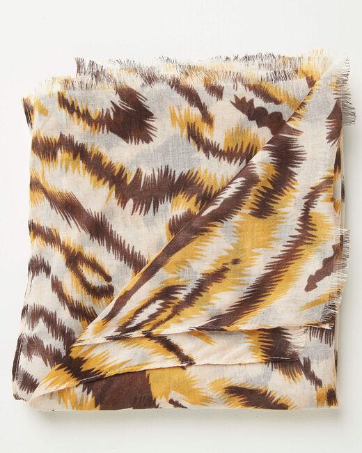 Karamellfarbenes Halstuch mit Animal-Print Altesse (2) - 1-2-3