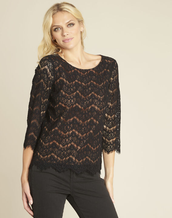 Geraldine black lace blouse with lining (1) - 1-2-3