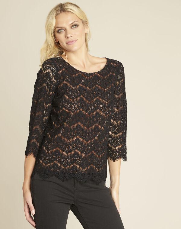 Zwarte blouse van gevoerde kant Geraldine (1) - 37653