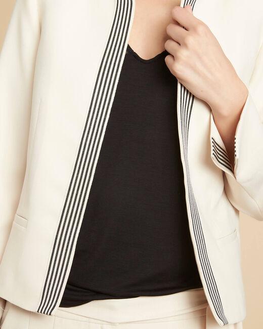 Veste courte écru à bandes noires Charme (2) - 1-2-3