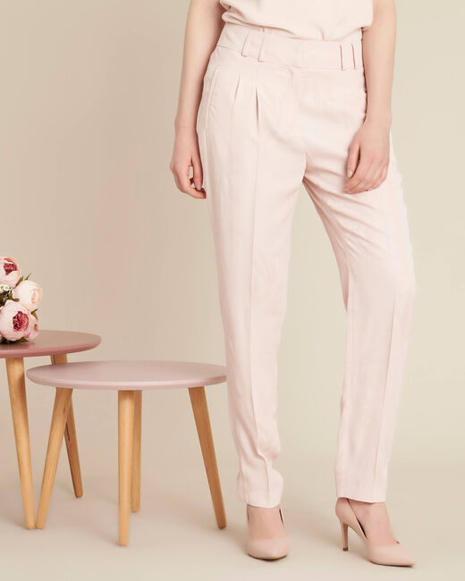 Vada pale pink trousers with jacquard palm print (2) - 1-2-3