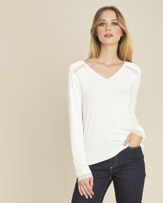 Girl ecru long-sleeved T-shirt with lace detailing (1) - 1-2-3