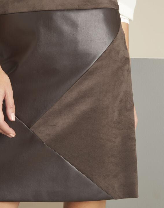 Brauner Trapezrock aus Kunstleder Abby (3) - 1-2-3