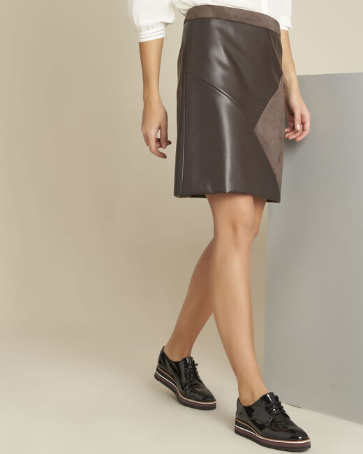 Abby brown trapezoid faux leather skirt (2) - 1-2-3