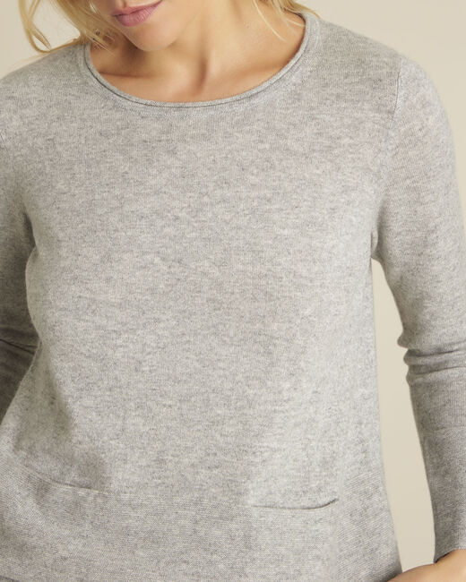 Brume grey cashmere pullover with pockets (2) - 1-2-3